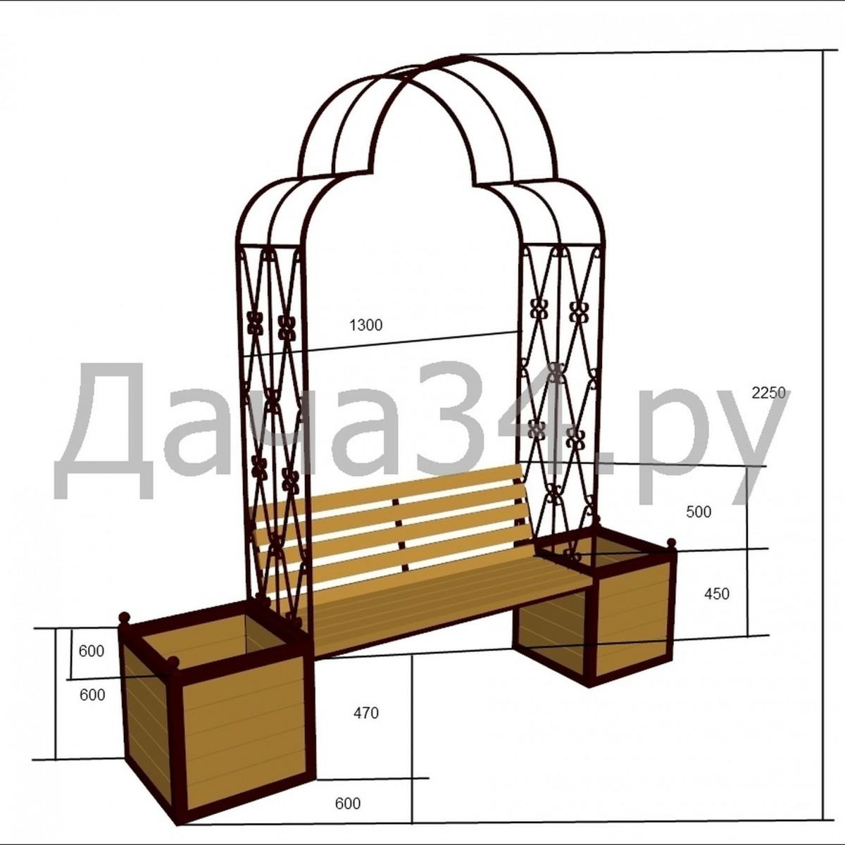 Арка садовая со скамейкой и вазонами А-04